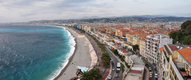 Promenade des Anglais, Nice, Cote d'Azur, France. The Promenade des Anglais - probably the world's best known sea front walkway was built by wealthy English Royalty Free Stock Photos