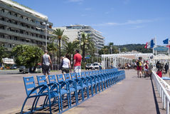 The Promenade des Anglais in Nice, France. The Promenade des Anglais (Promenade of the English) is a celebrated promenade along the Baie des Anges, a bay of the royalty free stock photography