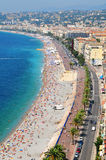 Promenade des Anglais in Nice, France. Aerial view of the Promenade des Anglais in Nice, France as seen from the Castle Hill stock images