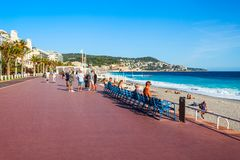 Promenade des Anglais in Nice. NICE, FRANCE - SEPTEMBER 25, 2018: The Promenade des Anglais is a promenade along the Mediterranean at Nice city, Cote d\'Azur stock photos