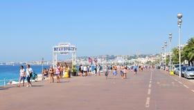 Promenade des Anglais in Nice, Frankrijk Stock Foto