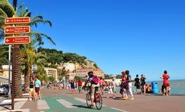 Promenade des Anglais in Nice, Frankrijk royalty-vrije stock foto's