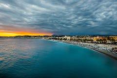 Promenade des Anglais Nice, Frankrike Arkivfoto