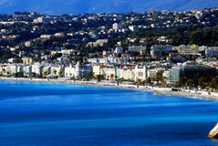 Promenade des Anglais in Nice from the sea, Côte d'Azur. View of the main street of Nice from the sea on a bright sunny day Stock Photo