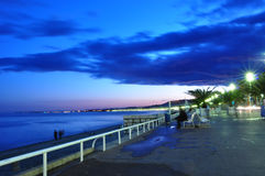 Promenade des Anglais at night. French riviera stock photography