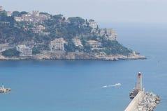 Promenade des Anglais port av Nice, för hav, för kust, kust- och oceaniska landforms, himmel royaltyfri foto