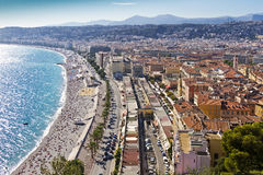 Promenade des Angles in Nice, France. Famous Promenade des Angles in Nice - long seaside walkway that stretches along the Mediterranean coast. Beautiful stock images