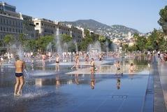 Promenade du Paillon在尼斯,法国 免版税库存照片