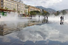 Promenade du Paillon in de Franse stad van Nice Stock Fotografie