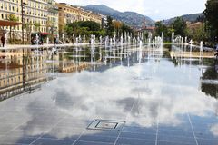 Promenade du Paillon en la ciudad francesa de Niza Imagen de archivo libre de regalías