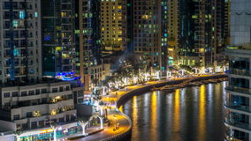 Promenade in Dubai Marina timelapse at night, UAE. Top view stock video