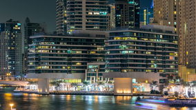 Promenade in Dubai Marina timelapse at night, UAE. stock video