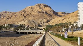 Promenade at Ein Bokek on the Dead Sea stock photography