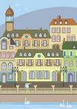 'promenade' en la ciudad vieja Europa ilustración del vector