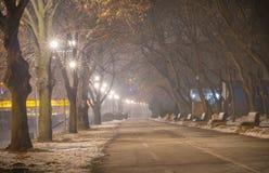 Promenade entlang dem Fluss Sava Lizenzfreie Stockfotos