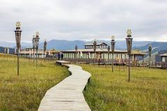 Promenade et pavillons en bois photos libres de droits