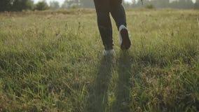Promenade femelle avec son chien mixbreed dans l'heure d'été de champ, plan rapproché Crabot heureux clips vidéos