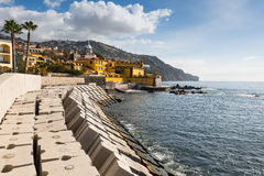 Promenade of Funchal with the castle of Sao Tiago, Madeira, Portugal Stock Images