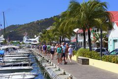 Promenade in Gustavia, St Barths Stock Images