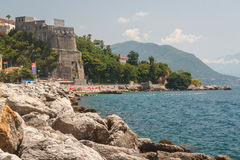Promenade of Herceg Novi. Montenegro stock photo