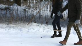 Promenade heureuse de couples dans la forêt de neige ils qu'ils se sont habillés dans des vêtements d'hiver clips vidéos