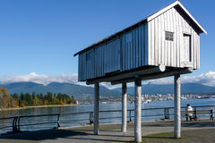 Promenade. Interesting house on the promenade next to Burrard Inlet in Vancouver Royalty Free Stock Photo