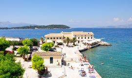 Promenade in Korfu, Griechenland Stockbilder