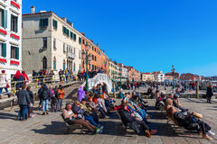 Promenade at the lagoon in Venice, Italy Stock Images