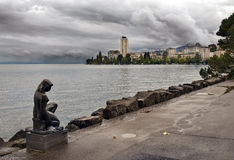 Promenade of Lake Geneva near Montreux after rain Royalty Free Stock Images