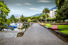 Promenade at the lake in Locarno city, Switzerland Stock Images