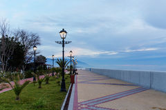 Promenade with lanterns Stock Photos