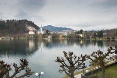 Promenade le long du lac saigné Photo stock