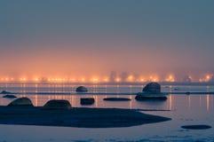 Promenade lights on misty night Royalty Free Stock Image