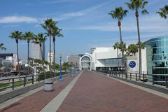 Promenade at the Long Beach Convention Center. LONG BEACH, CALIFORNIA - JAN 30, 2019: Promenade at the Long Beach Convention Center. The walkways connects the stock photography