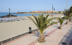Promenade in Los Cristianos, Tenerife Spain Stock Image