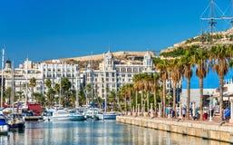 Promenade in the Marina of Alicante, Spain Royalty Free Stock Image