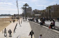 Promenade by Marina area at Barcelona. Spain Stock Images