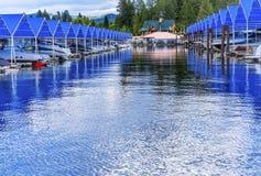 Promenade Marina Lake Coeur D ` Alene Idaho Royalty-vrije Stock Foto's