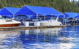 Promenade Marina Piers Boats Reflection Lake Coeur D ` Alene Idaho Royalty-vrije Stock Fotografie