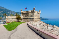 Promenade and medieval citadel in Menton, France. Royalty Free Stock Photography
