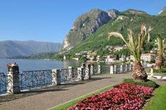 Promenade in Menaggio, See Como, Beteiligter sehen Lizenzfreies Stockfoto