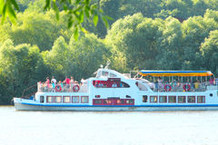 Promenade motor ship with passengers on Desna river Royalty Free Stock Photo
