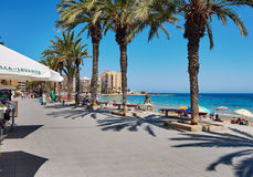 Promenade near the Playa del Cura in Torrevieja city at summerti Royalty Free Stock Images