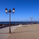 Promenade near the sea, Saintes-Maries-de-la-mer, Royalty Free Stock Photography