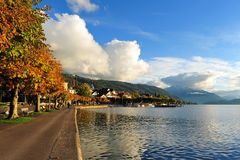Promenade next to Lake Zug in Switzerland Stock Photo