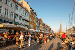 Promenade at Nyhavn in Copenhagen Royalty Free Stock Photo