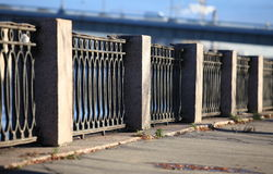 Promenade old cast iron fence Royalty Free Stock Photo