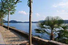 Promenade on Orta lake Stock Image