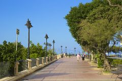 Promenade and park in Sliema , Malta. Waterfront Park in Sliema, Malta Royalty Free Stock Photos