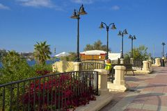 Promenade and park in Sliema , Malta. Waterfront Park in Sliema, Malta Royalty Free Stock Photo